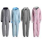Mens Stripe Pint Hooded Printed Onesie Jumpsuit Playsuit All In One S M L XL NEW