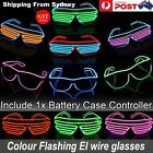 MIX colour El Wire Glasses Neon LED Light Up Shutter Shaped Rave Costume Party