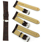 18/20/22MM Soft Sweatband Black Brown Leather Strap Steel Buckle WristWatch Band