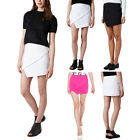 Womens Wrap Mini Skort Skirt Short Irregular Asymmetric Laminated Flanging Dress
