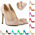 Sweet Lady High Heels Pumps Stilettos Shoes Pointed Toe Bow Bowknot PU Leather