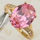 Size 5 6 7 8 9 10 Nice Pink Tourmaline Yellow Gold Filled Woman Gift Ring R1918
