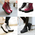Womens Stylish Lace Up Ankle Boot Flat Platform Punk Goth Creeper Pumps Booties