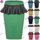 Womens Ladies High Waisted Stretchy PVC PU Wetlook Frill Midi Skirt Plus Sizes