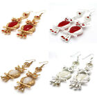 1 Pair Fashion Crystal Rhinestone Gemstone Owl Dangle Earrings 12 Colours
