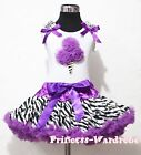 White Top Zebra Purple Ice Cream Pettiskirt Girls Dress Clothing Outfit Set 1-8Y