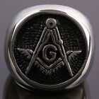 Men Masonic Ring Freemason Master Mason Finger Ring Punk Jewelry Size 8-15