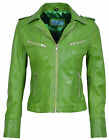 RIDER Ladies Lime Green Biker Motorcycle Style Soft Real Nappa Leather Jacket