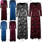 New Womens Ladies Floral Roses Cocktail Evening Flared Long Maxi Dress Plus Size