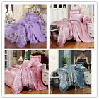 Royal Lace Satin Queen/King Size Bed Quilt/Doona/Duvet Cover Set Pillowcases 4PC