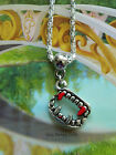 VAMPIRE FANGS PENDANT CHARM NECKLACE BLOOD TEETH SPOOKY SUPERNATURAL
