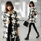 Women Lady Trench Coat Plaid Outerwear Long Jacket Cardigan Leather Blazer LM