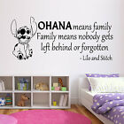 OHANA Wall Quote Lilo Stitch Sticker Kids Movie Vinyl Decal Transfer Gift