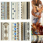 1 Sheet Temporary Metallic Tattoos Flash Gold Silver Black Jewelry Tat Inspired