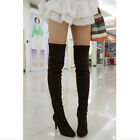 HOT Womens Faux Suede High Stilettos Heel Over Knee Thigh High Leg Knee Boots SZ