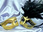Men and Women Masquerade mask set for couple Xmas New Year fancy Dress up Party