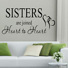 SISTERS Wall Art Quote Sticker Decal Graphic Transfer Gift Lounge Words Heart