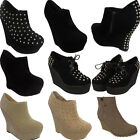 WOMENS LADIES FAUX SUEDE HIGH HEEL ANKLE PLATFORM WEDGE BOOTS SHOES SIZE UK 3-8