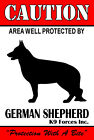 CAUTION Protected By GERMAN SHEPHERD Aluminum Sign Personalization Available