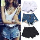 Ladies Fashion Vintage High Waist Shorts Jeans Ripped Hole Short Jeans Size S-XL