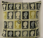 DESIGNER POSTAGE STAMP CUSHION COVER CREAM BLACK GREY CHARCOAL CREAM  BACK
