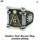 Mens Stainless Steel FreeMason  Masonic Ring In 14K Black Finish