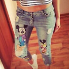 Women Clothing Sexy Jeggings Denim Mickey Pattern Nine Points Jeans Pencil Pants