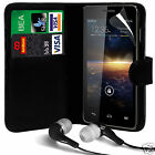 Black PU Leather Wallet Flip Case Cover, LCD Film & Earphone For Various Phones