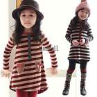2PC Kids Baby Girls Long Sleeve Stripe Bow Tutu Skirt Party Shirt Dress Outfit