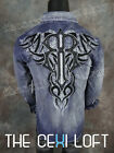 NEW Mens ROAR Long Sleeve Embroidered Shirt STRUCTURE in Blue Wash W52075