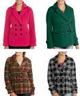 Womens Essential Wool Blend Peacoat Jacket - Pink Green Plaid Black / White XXL