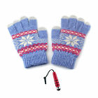 1 Pair Warm Snowflake Pattern Touch Screen Gloves For Smart Phone + Stylus R