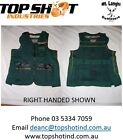 Clay Target Shooting Vest Jacket, Green/Gold Black Leather New 2015 Model Left H