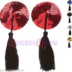 Sexy Womens Round Sticker Sequined Breast Bra Nipple Cover Pasties,Tassels Drop