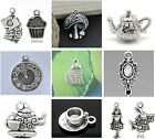 Alice In Wonderland Tibetan Pendants Silver Tone Charms