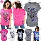 Womens Ladies Floral Rose Butterfly Glitter Side Ruched Batwing Sleeve Baggy Top