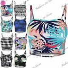Womens Ladies Print Sleeveless Strappy Bandeau Cami Boobtube Bralet Cropped Tops