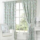 Pippa Floral Print Pencil Pleat Curtains, Duck Egg - 9 Sizes Available
