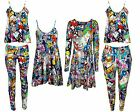 NEW LADIES BANG COMIC PRINT VEST SWING TUNIC DRESS LEGGINGS UK 8-26