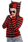 Banned Apparel Red & Black Stripe Cat Ears Hoodie Kitty Gothic Punk Cute Goth