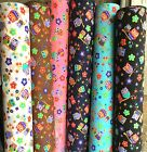 PolyCotton Fabric Floral Country Owls Bird Blue White Brown Pink Black Turquoise