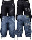 New Mens Crosshatch Designer Denim Dark Tint Mid Wash Shorts