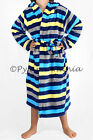 Boys Coral Fleece Hooded Dressing Gown Robe Blue Grey Yellow Stripes 8 10 12 14