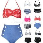 Fashion Women Retro Dots Stripes Beach Bra High Waist Bikini Set SFBK20