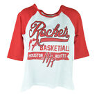 NBA UNK Houston Rockets Women Ladies Baseline Three Quarter Sleeve Tshirt