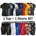 Mens Compression Sports Skin Tight Set Short Sleeves Top+Shorts TFx All Colours