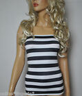 BLACK WHITE STRIPE LYCRA BOOB TUBE TOP STRAPLESS BANDEAU CLUB PARTY HOLIDAY W650