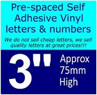 """QTY of: 9 x 3""""  75mm HIGH STICK-ON  SELF ADHESIVE VINYL LETTERS & NUMBERS"""
