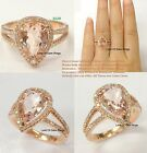Pink Morganite Diamond Engagement Promise Ring,14K Rose Gold,8x12mm Pear Cut