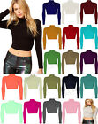 GIRLS POLO NECK CROP TOP LADIES SHORT STRETCH LONG SLEEVE TURTLE ROLL NECK 8-14